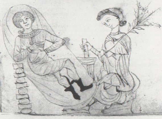 Drawing from a 13th-century manuscript of Pseudo-Apuleius's Herbarium, depicting a pregnant woman in repose, while another holds some pennyroyal in one hand and prepares a concoction using a mortar and pestle with the other.