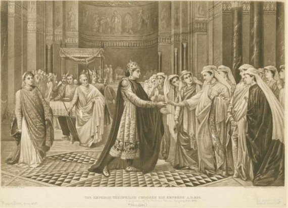The emperor Theophilus chooses his empress A.D. 829. - created by Val Cameron Prinsep (1838-1904)