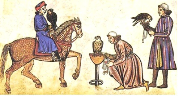 Medieval falconry. Falconers with horse from, 'De arte venandi cum avibus', 1240-1250 – Holy Roman Emperor Frederick II wrote a treatise on, 'The Art of Hunting with Birds'