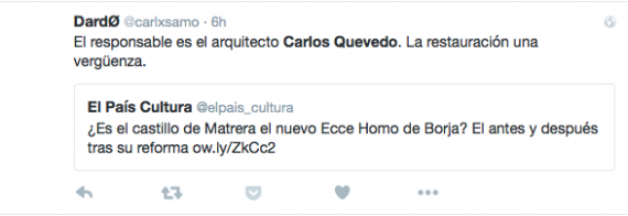 Twitter exchange between Spanish cultural group El Pais, and readers regarding architect Carlos Quevedos efforts to restore Matrera castle.