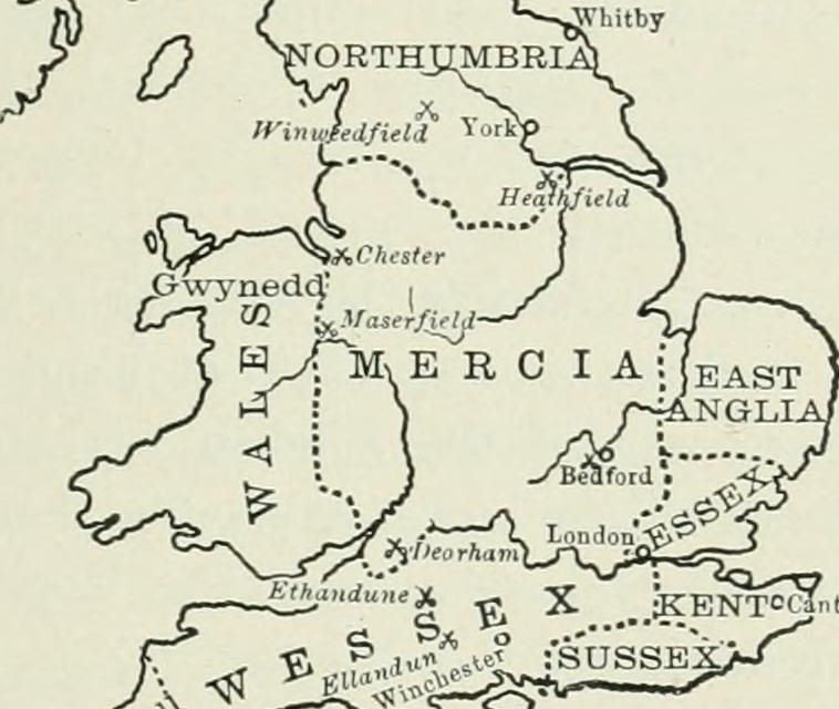 Mercia England Map.Osthryth Queen Of The Mercians Medievalists Net