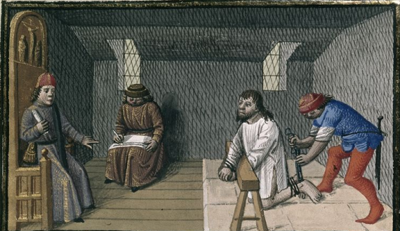 Medieval torture scene depicted in a 15th century manuscript - British Library Harley 4375 f. 140