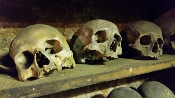 Rothwell Charnel Chapel skulls. (Photo by Medievalists.net)