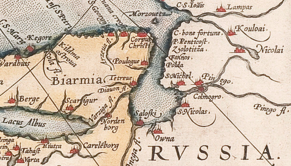 Detail of a map of Scandinavia, created by Abraham Ortelius in the 16th century