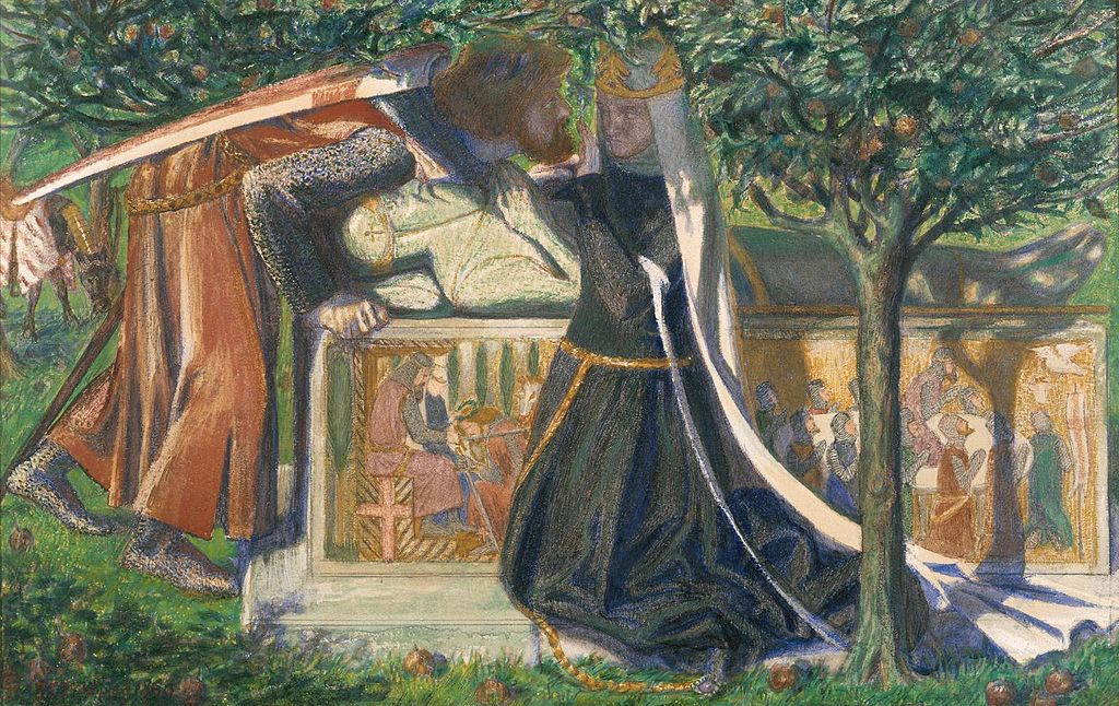 Dante Gabriel Rossetti - Arthur's Tomb: The Last Meeting of Lancelot and Guinevere (1860).