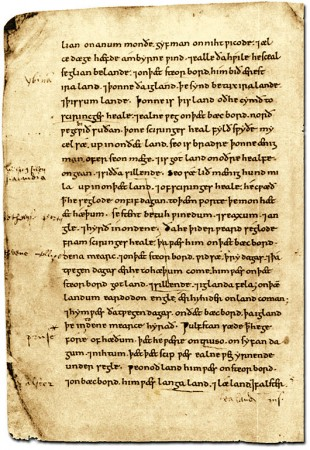 Page from British Library MS Cotton Tiberius B.i, the Old English version of Orosius' Seven Books of History Against the Pagans, early 11th century - it contains Ohthere's account of his travels