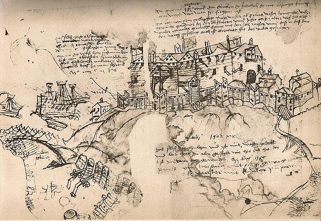 Die Belagerung von Älvsborg, in der rechten oberen Ecke das Taubenrezept.
