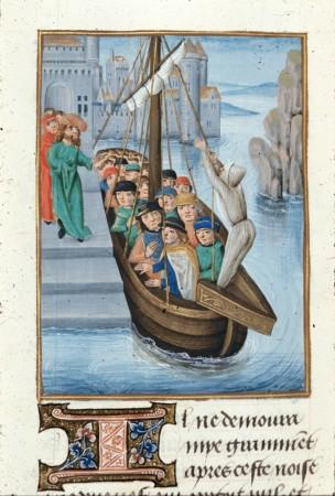 Ship of pilgrims - from British Library MS Royal 15 E I   f. 404v