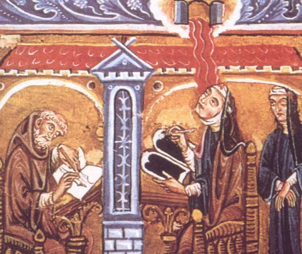 A 12th century depiction of Hildegard of Bingen