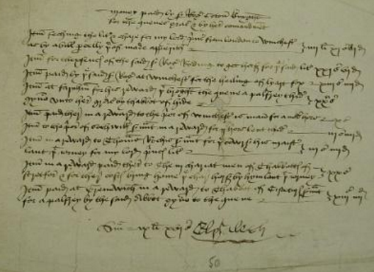 Queen Elizabeth's signed warrant for payment of travelling expenses at Arthur's christening at Winchester, September 1486. Exchequer warrant, TNA E 404/79/205.