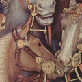 Detail from 15th-century painting by Gentile da Fabriano, showing horses