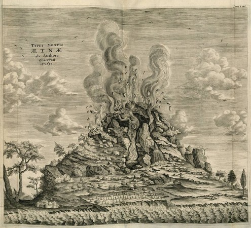 Illustration of Mount Etna as observed by the author in 1637. From Athanasius Kircher's Mundus Subterraneus, 1664.