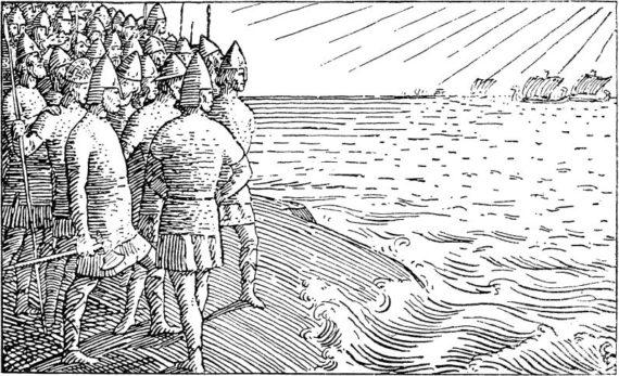 Halfdan Egedius: Illustration for Olav Trygvasons saga. Snorre 1899-edition.