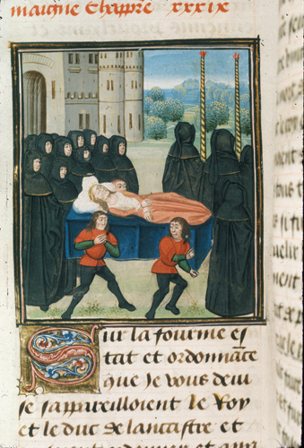 Detail of a miniature of the funeral of Anne of Bohemia, at the beginning of chapter 39. Royal 18 E II f. 227v., Netherlands, S. (Bruges) (The British Library).
