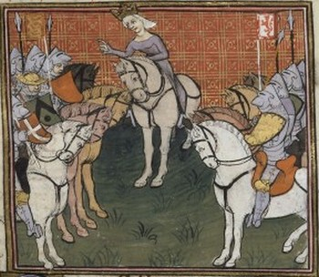Philippa de Hainaut and her army, 15th c. (Bibliothèque Nationale de France)