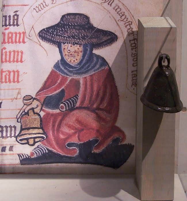 Medieval leper - By Gianreali. Cropped from Leprosy bell. (Wikimedia Commons)