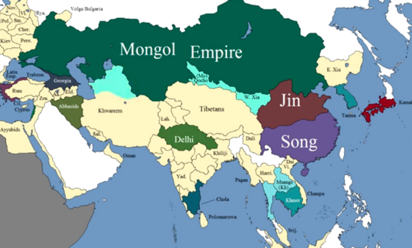 Show The Map Of Asia.How The Borders Of Asia Changed During The Middle Ages