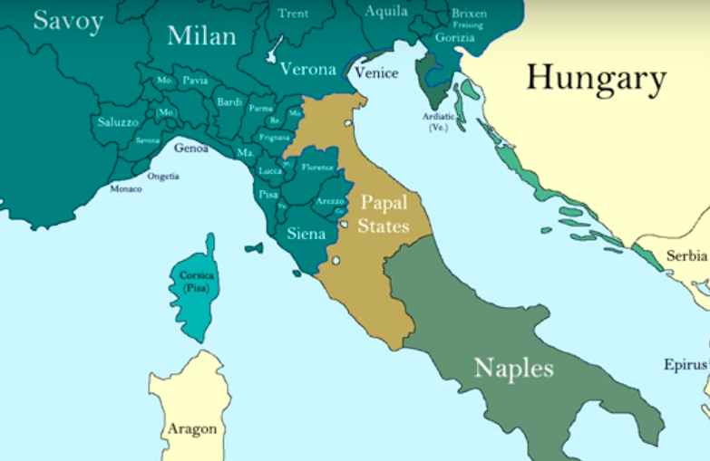 Italy On Map Of World.How The Borders Of Italy Changed During The Middle Ages
