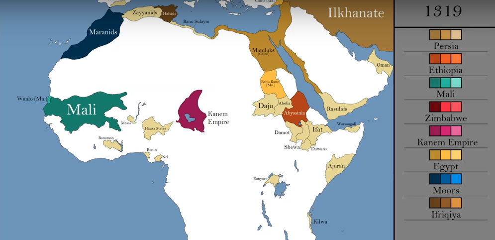 How the borders within Africa changed in the Middle Ages