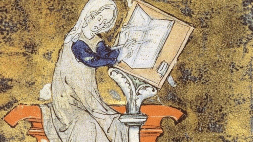 Marie de France from an illuminated manuscript
