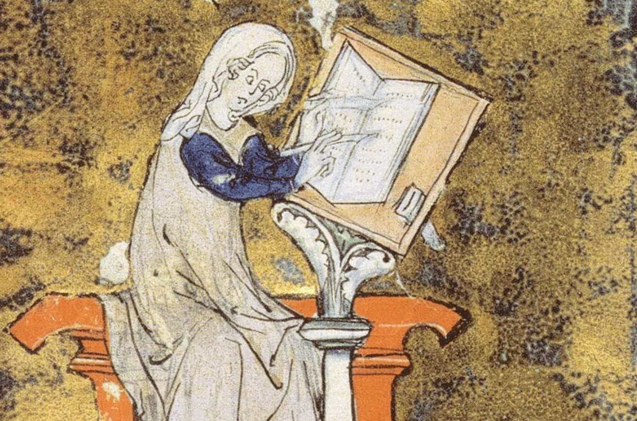 Marie de France from an illuminated manuscript