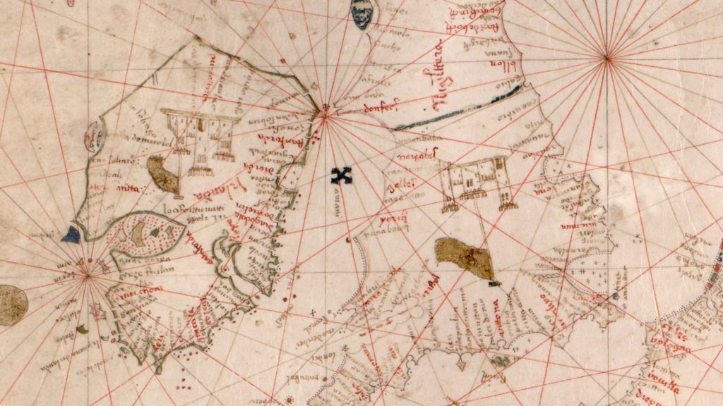 Detail of England and Ireland from a 15th century portolan chart